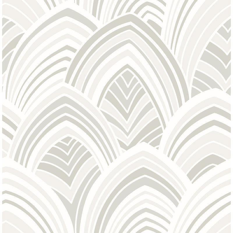 Cabarita White Art Deco Flocked Leaves Wallpaper