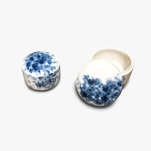 Round Blue & White Jewelry Box