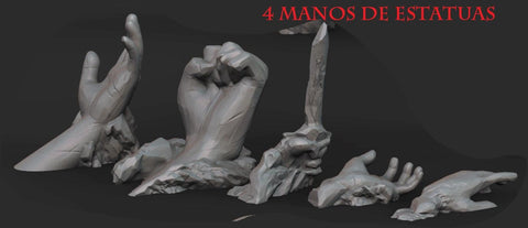 SET DE 4  MANOS DE ESTATUAS RUINAS terreno para wargames 28mm/30mm