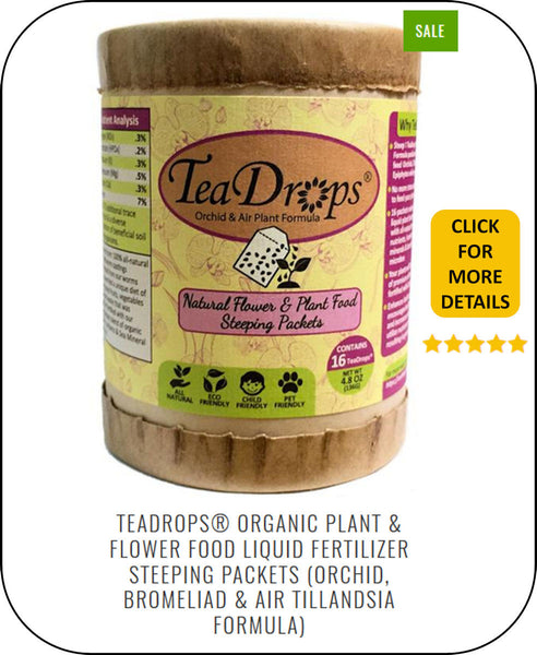 Feed Your Orchids, Bromeliads & Tillandsias (Air Plants) With Our TeaDrops 100% All Natural Liquid Organic Plant Food Steeping Packets