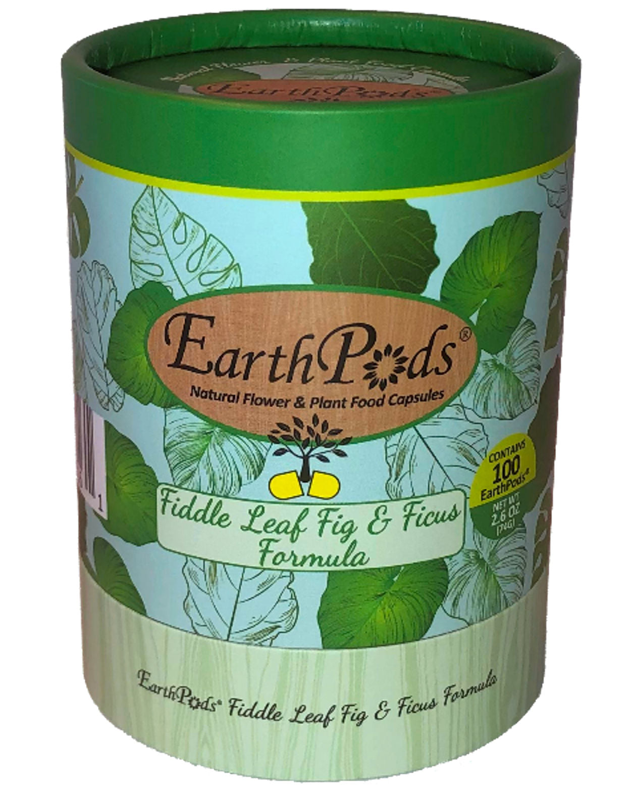 Earthpods® Fiddle Leaf Fig & Ficus Organic Plant Food Spikes (100 Fertilizer Capsules)