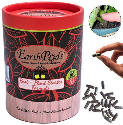 EarthPods® Root & New Plant Starter Organic Plant Food Spikes (100 Fertilizer Capsules) Open Container