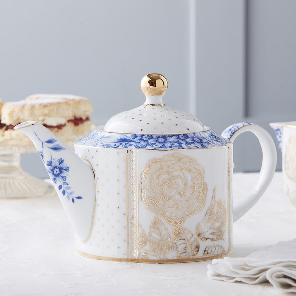 Pip Studio Royal White Collection Teapot (Small) - Teapot on laid table