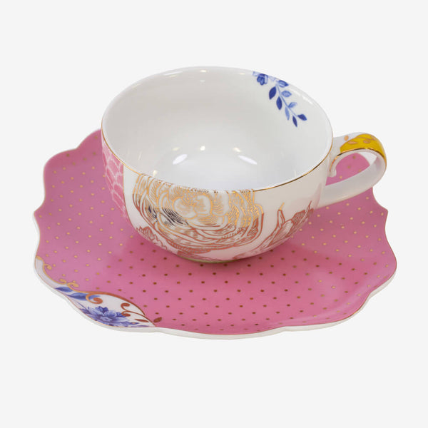 Pip Studio Royal Collection Pink Teacup & Saucer - Teacup and saucer from side