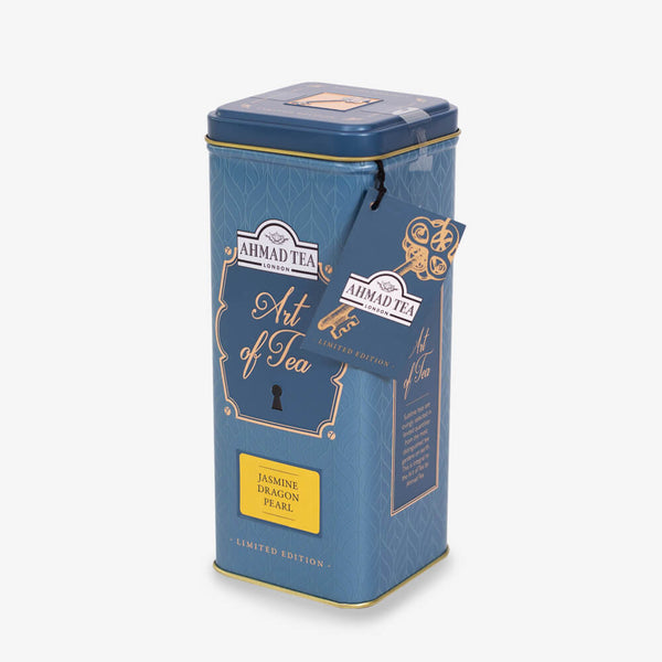 75g Loose Tea Caddy from Art of Tea Collection - Side angle of caddy with label