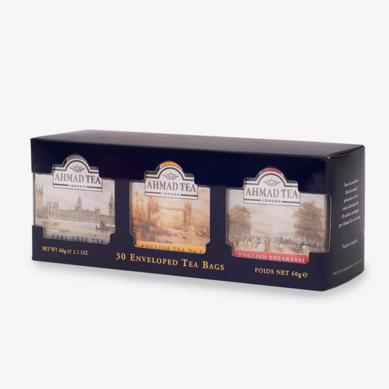 English Tea Selection of 3 Black Teas in Blue - Side angle of box