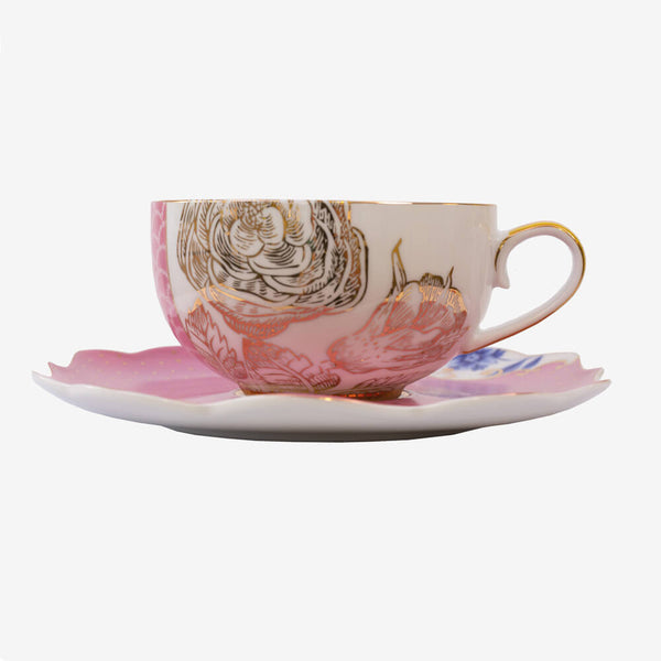 Pip Studio Royal Collection Pink Teacup & Saucer - Front of teacup and saucer