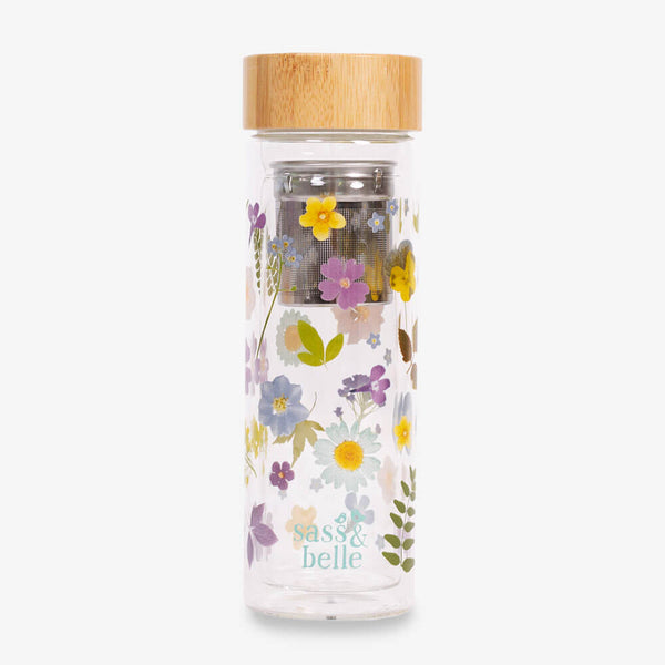 Sass & Belle Pressed Flowers Water Bottle - Front of bottle