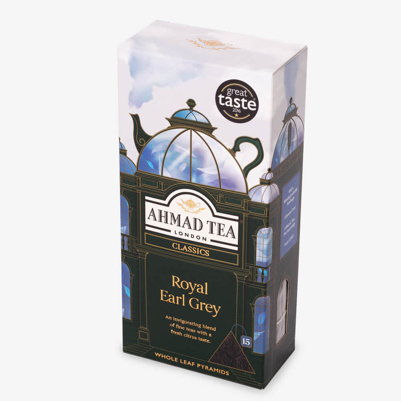 5 Packs of 15 Pyramid Teabags - Side angle of box
