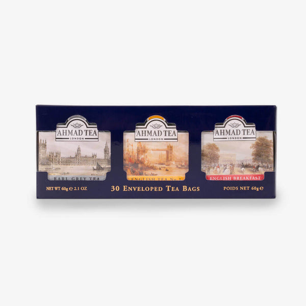 English Tea Selection of 3 Black Teas in Blue - Front of box