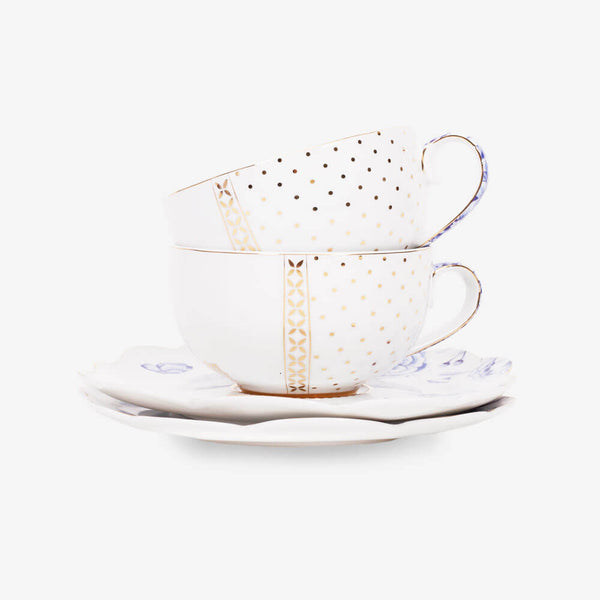 Pip Studio Royal White Collection 2 Teacups & 2 Saucers - Front of teacups & saucers