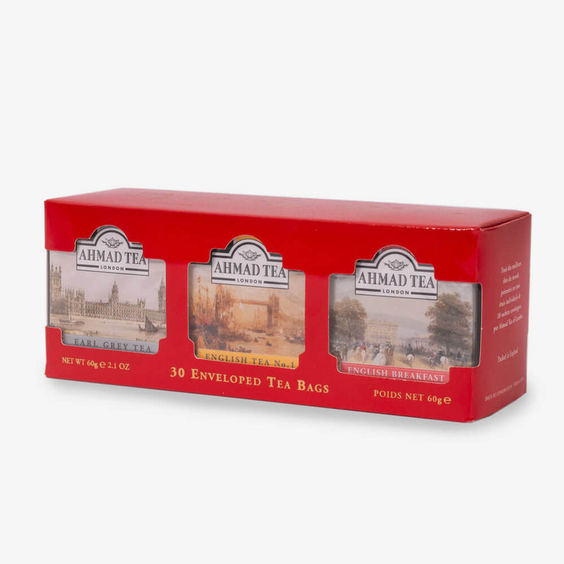 English Tea Selection of 3 Black Teas in Red - Side angle of box