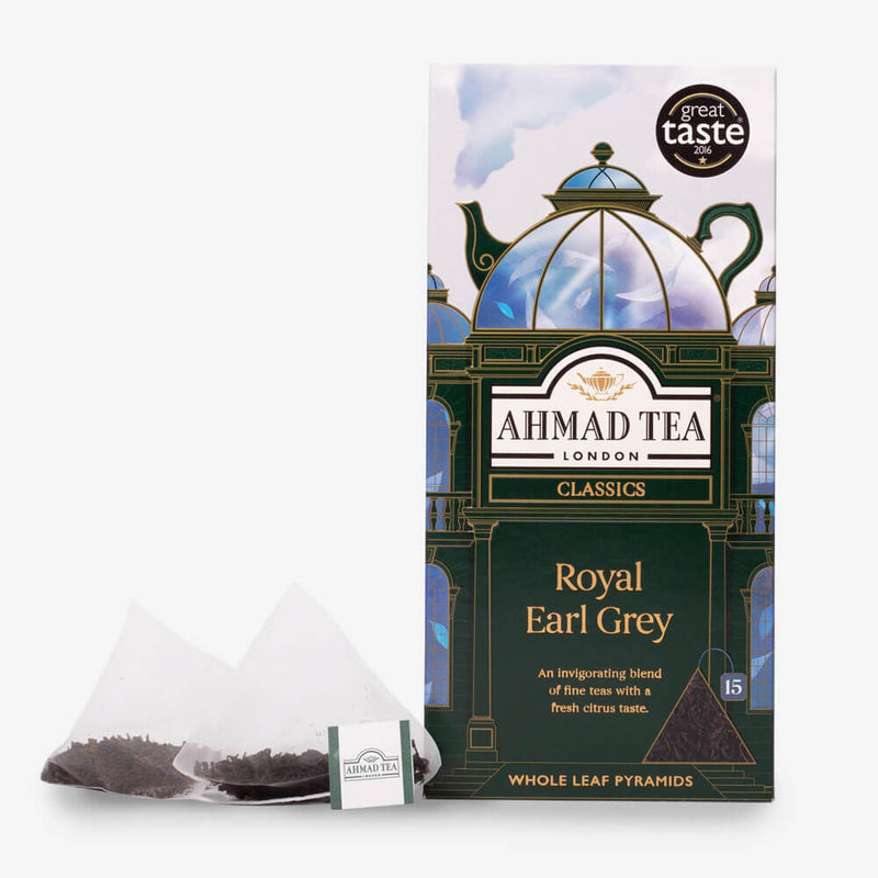 5 Packs of 15 Pyramid Teabags - Box and pyramid teabag