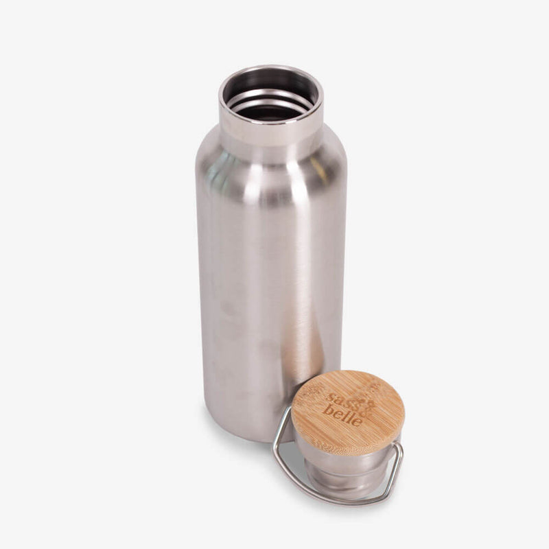 Sass & Belle Stainless Steel Water Bottle - Inside bottle and lid