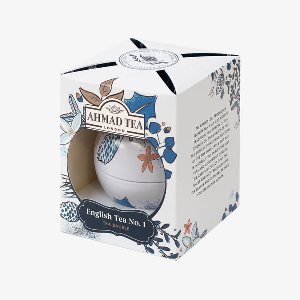 Twilight Xmas Bauble in White - Side angle of box