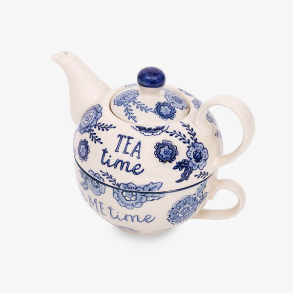 Sass & Belle Blue Willow Floral Teapot for One - Teapot and cup from side angle