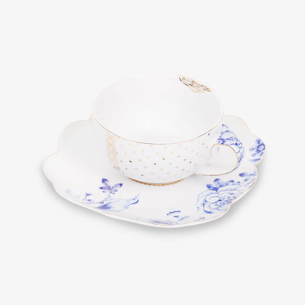 Pip Studio Royal White Collection Teacup & Saucer - Teacup and saucer from side