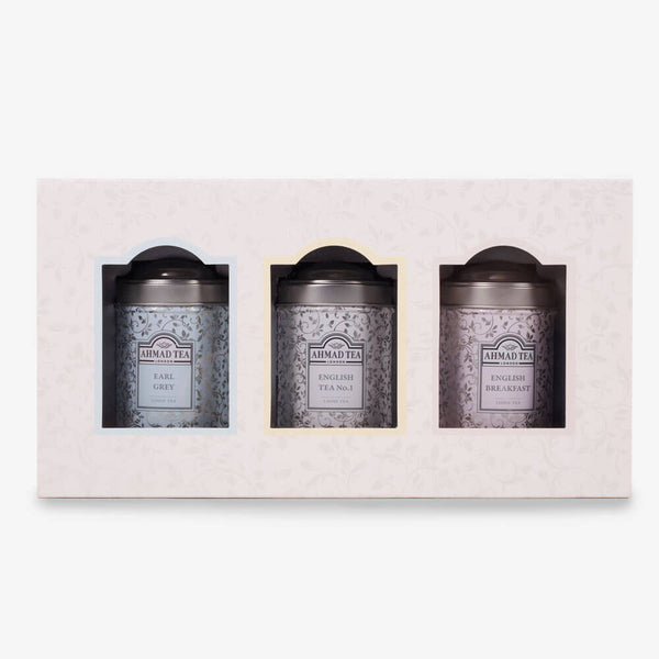 Trio of Luxury Caddies with 3 Black Teas - Front of caddies