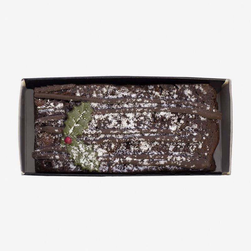 The Original Cake Company Christmas Chocolate Yule Log - Cake from top on side