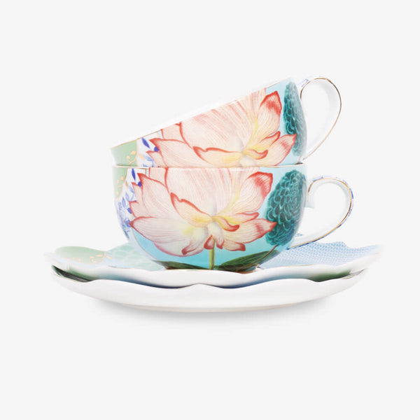 Pip Studio Royal Collection 2 Teacups & 2 Saucers - Front of teacups & saucers