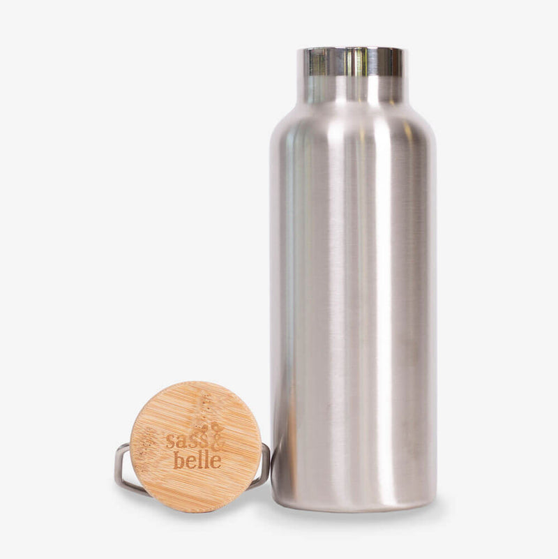 Sass & Belle Stainless Steel Water Bottle - Bottle and lid up