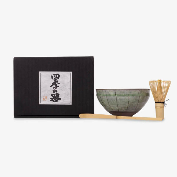 Matcha Gift Box Set with Green Glazed Bowl - Items out of closed gift box