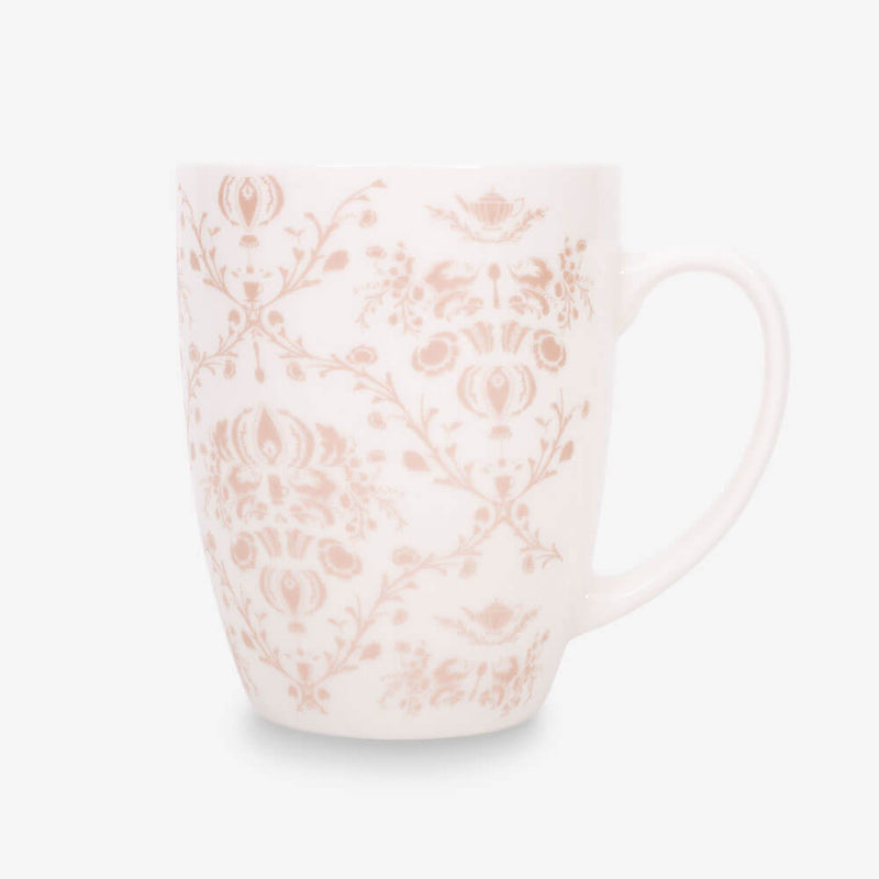 Ahmad Tea Porcelain Floral Mug in Rose Gold - Front of mug