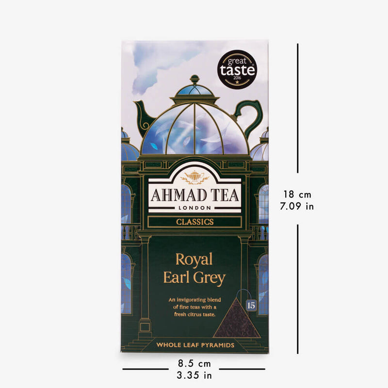 5 Packs of 15 Pyramid Teabags - Box with dimensions