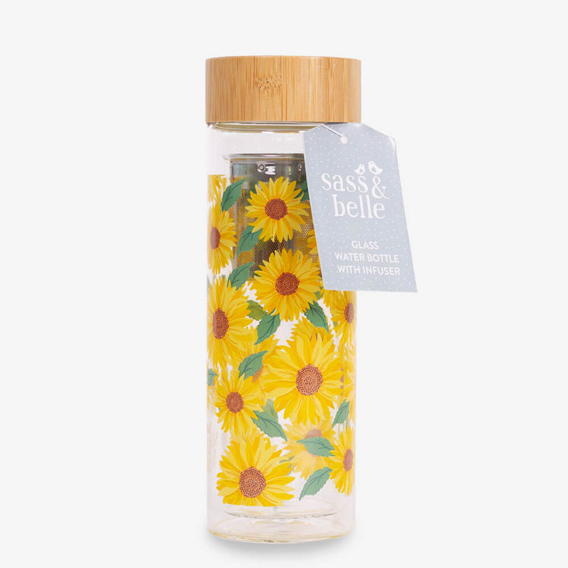 Sass & Belle Sunflowers Water Bottle - Bottle and tag