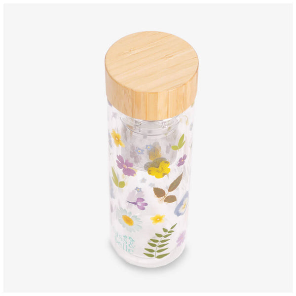 Sass & Belle Pressed Flowers Water Bottle - Side angle of bottle