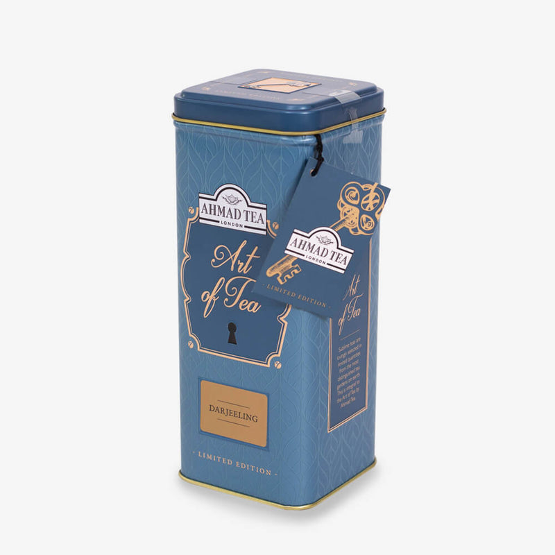 100g Loose Tea Caddy from Art of Tea Collection - Side angle of caddy with label