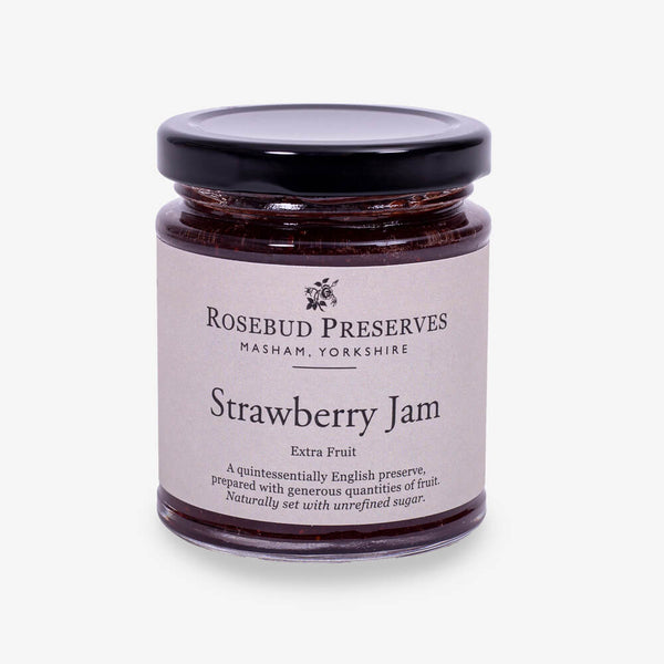 Rosebud Preserves Strawberry Jam - Front of jar