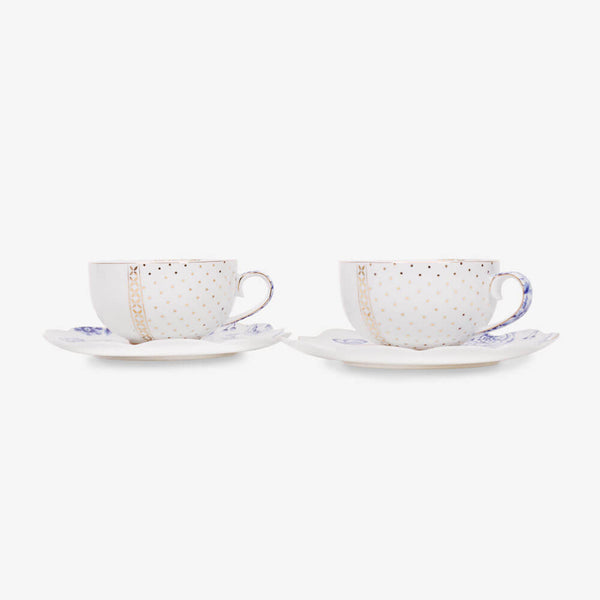 Pip Studio Royal White Collection 2 Teacups & 2 Saucers - 2 Teacups on saucers