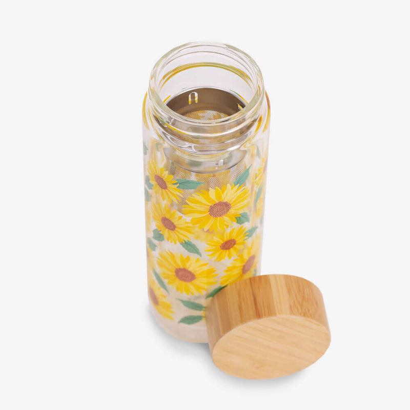 Sass & Belle Sunflowers Water Bottle - Bottle and lid up