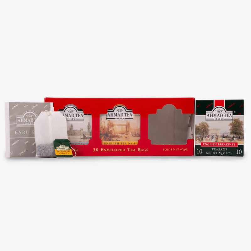 English Tea Selection of 3 Black Teas in Red - Box, envelope and teabag