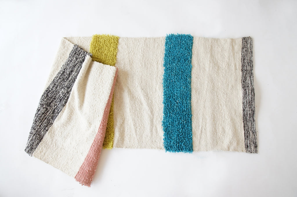 woven wool runner multi colored stripes by willful goods