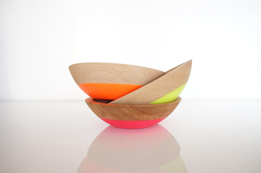 three small neon three snack bowls stacked by willful