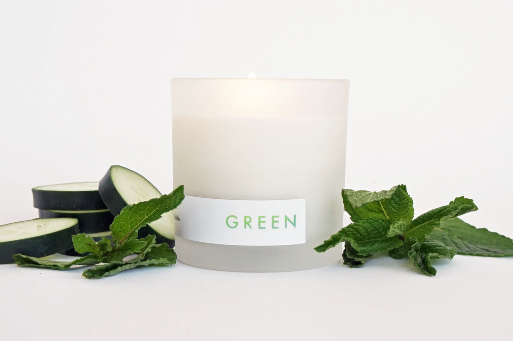 Green scented candle mint and cucumber by willful goods