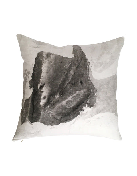 large black and white hand marbled pillow by Willful