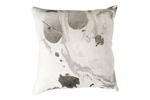black, white and grey marbled pillow by Willful
