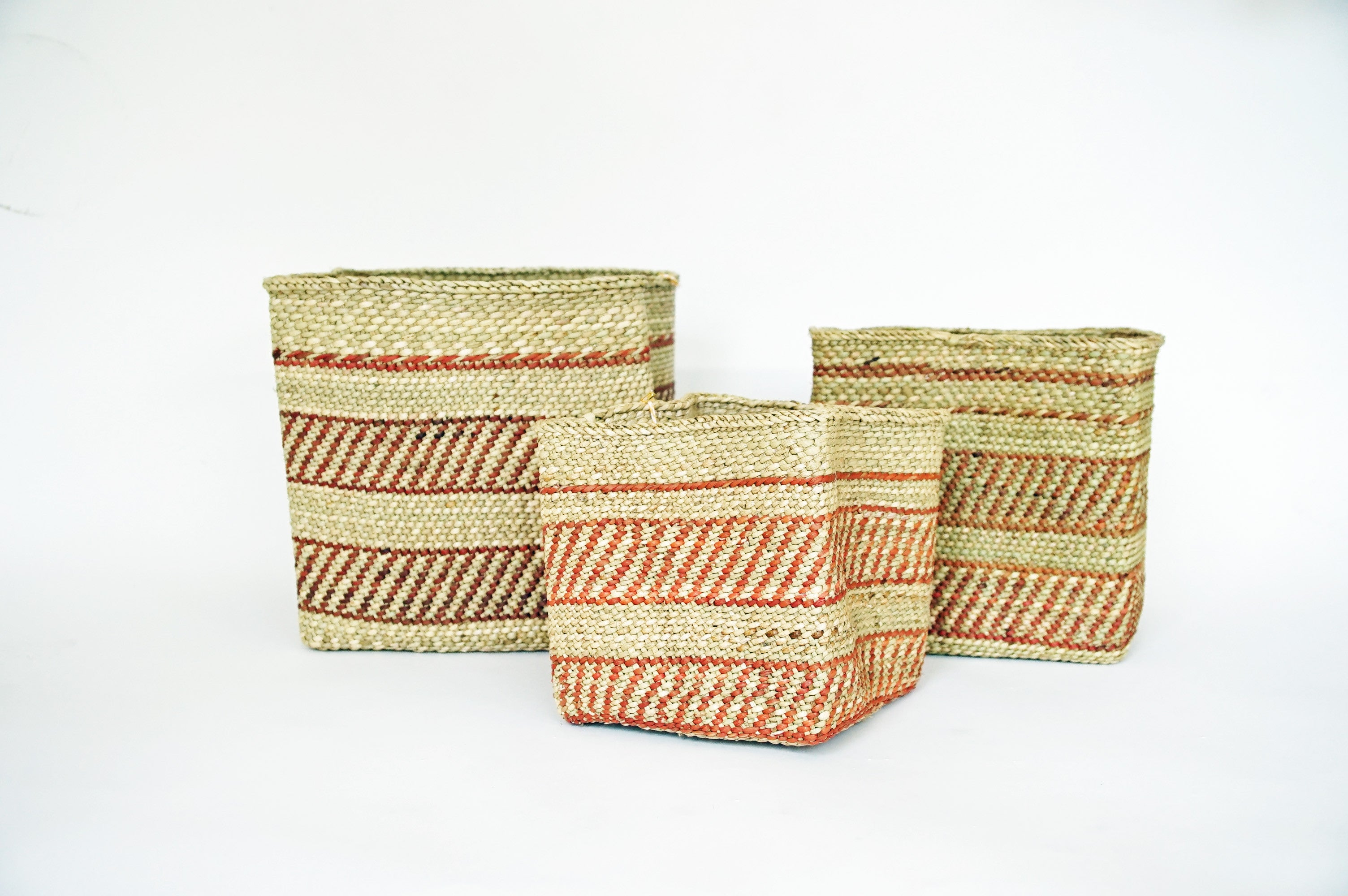 Square Nesting Baskets, Natural And Rust Pattern Willful Goods