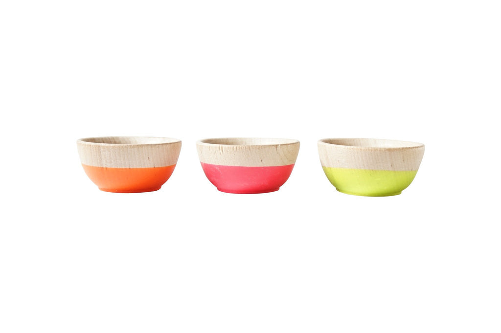 set of 3 neon mini pinch bowls, neon pink, neon orange, neon yellow