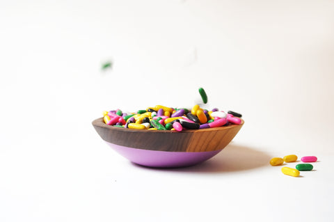 small walnut snack bowl with colorful candy by willful