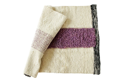 Lavender stripe natural wool rug by willful goods