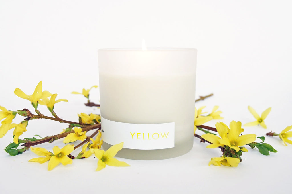 yellow natural soy candle lemongrass and lavender by willful goods