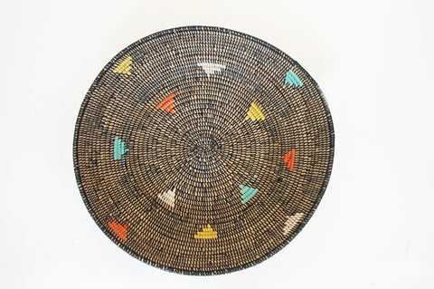 woven basket black with colorful triangles willful goods