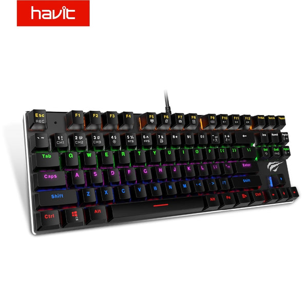 HAVIT Mechanical Keyboard 87 / 104 Keys Blue / Red Switch Wired USB Gaming Keyboard Backlight RU/US Keyboard For Desktop Laptop