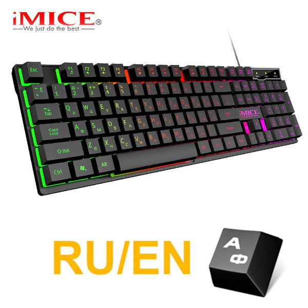 Gaming Keyboard Russian EN Imitation Mechanical Keyboard Backlight Wired Gamer Keyboard Spainsh USB Game Keyboards for Computer