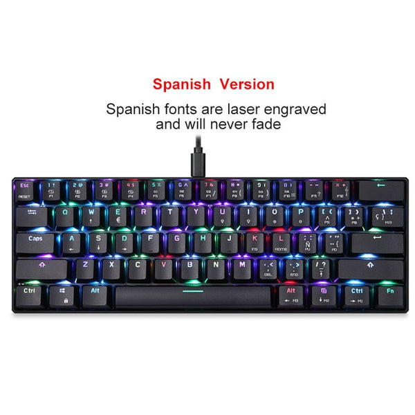 Genuine Motospeed CK61 Gaming Mechanical Keyboard 61 keys USB Wired RGB LED Backlight portable keyboard for PC Computer Gamer