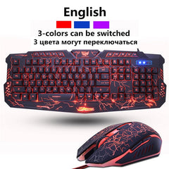 Russian/English Gaming Keyboard LED 3-Color M200 USB Wired Colorful Breathing Backlit Waterproof Computer Crack  Keyboard